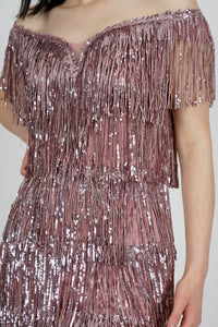 Women's Sequin Fringe Powder Rose Short Evening Dress - SisBrothers
