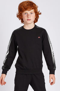 Boy's Crew Neck Printed Sleeves Black Sweatshirt - SisBrothers