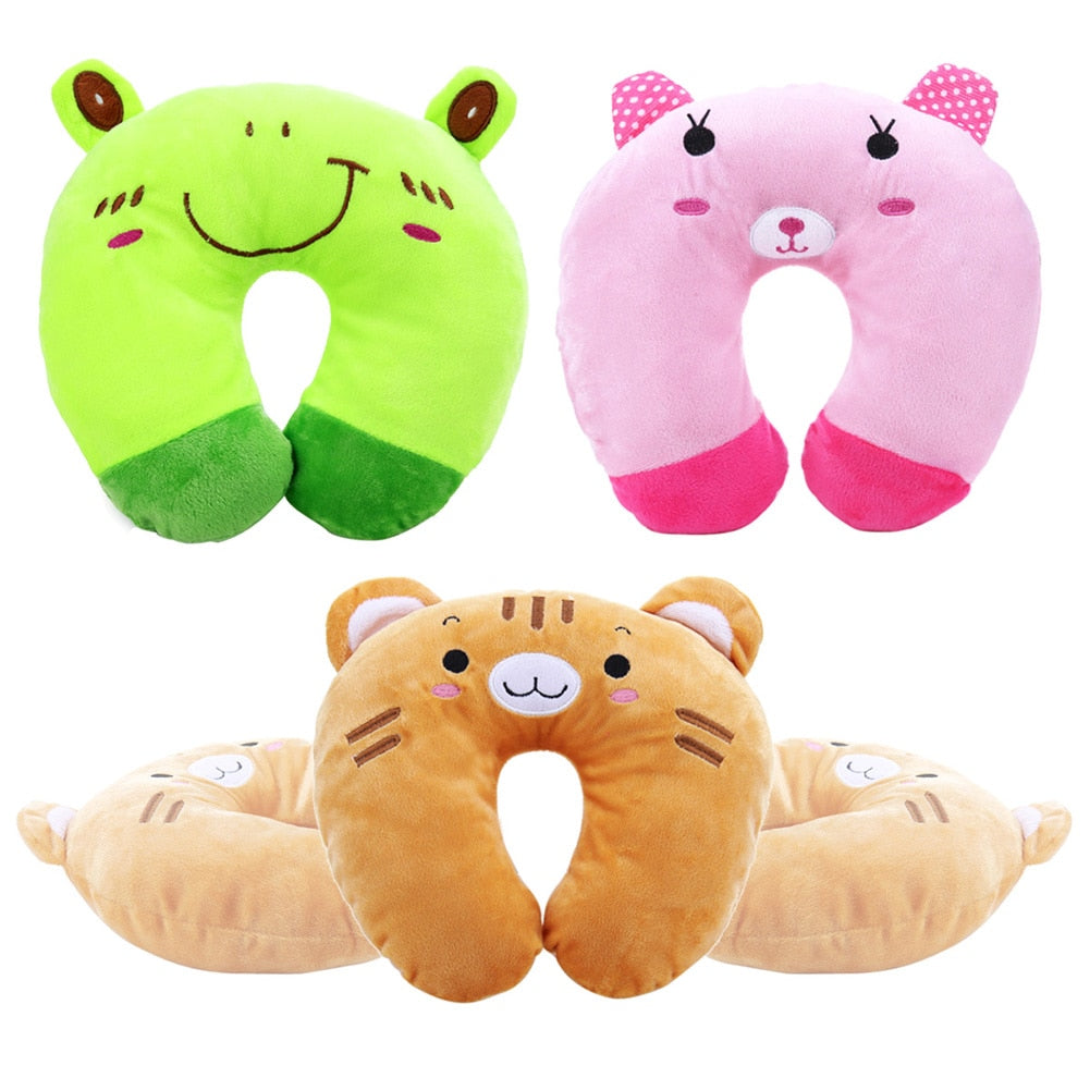 Cartoon Animals U Shaped Pillow Neck Support Head Rest U Shape Cushion Pillow Office Flight Travel Neck Rest Soft Cushion