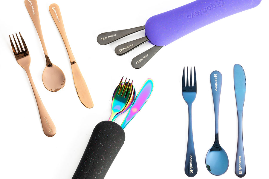 Travel Cutlery Set - Black / Black
