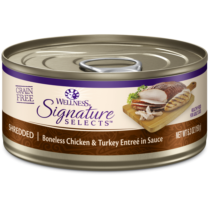 Wellness Signature Selects Grain Free Natural Shredded White Meat Chicken and Turkey Entree in Sauce Wet Canned Cat Food