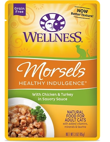 Wellness Healthy Indulgence Natural Grain Free Morsels with Chicken and Turkey in Savory Sauce Cat Food Pouch