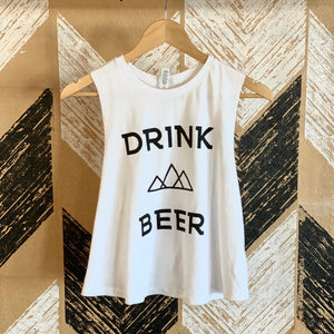 Drink Beer Cropped Tank - White