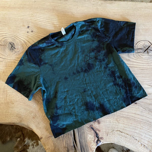 Cropped Forest Tie Dye Stencil T-Shirt