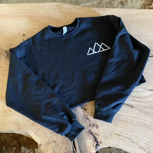 Cropped Black Stencil Crewneck