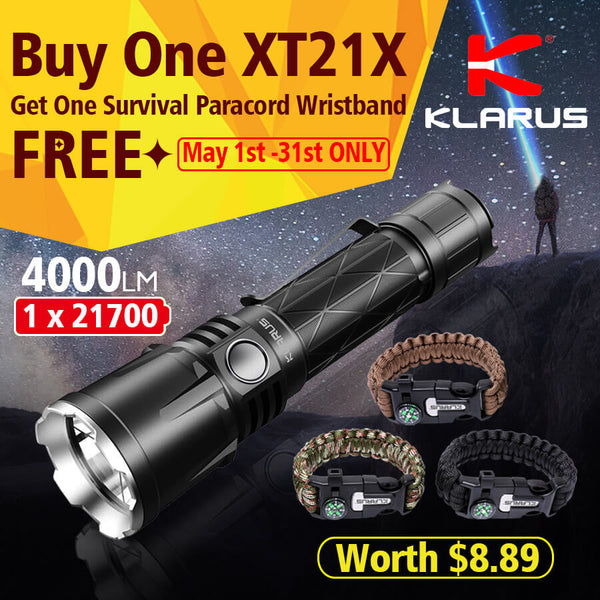 Buy One Klarus XT21X Get One Survival Paracord Wristband Worth US$8.89 FREE