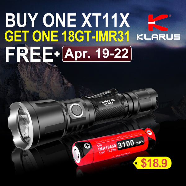 Klarus Easter Sales 2019 - Buy One Tactical Flashlight Klarus XT11X Get One Battery @US$18.9 FREE