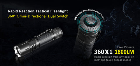 KLARUS 360X1 Micro-USB Rechargeable Outdoor LED Flashlight - 1800 Lumens - 246 Meters Beam CREE XHP35 HD E4 LED