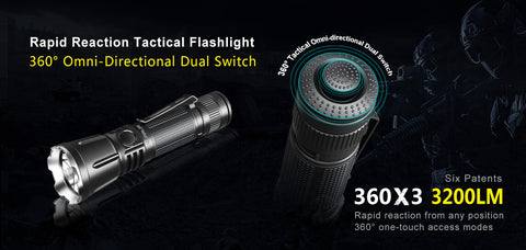 KLARUS 360X3 Dual Switch Tactical Rechargeable LED Flashlight - 3200Lumens - CREE XHP70.2 P2 LED - 1x18650 Battery