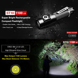 KLARUS ST10 1100 Lumens CREE LED Compact EDC 18650 Rechargeable Flashlight Torch