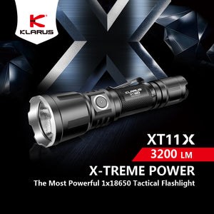 Klarus XT11X Best Rechargeable Tactical Flashlight 2019 3200Lumens, 283Meters Beam,  CREE XHP70.2 P2 LED, USB Charging, 1x18650 Battery Included
