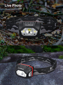 HM1  440 Lumens Rechargeable Motion Sensor Headlamp Flashlight, 5 Modes 70h Running time, IPX6