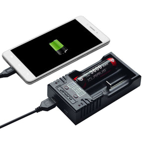 K2 Two cell charger compatible to almost all rechargeable batteries for use as a power bank