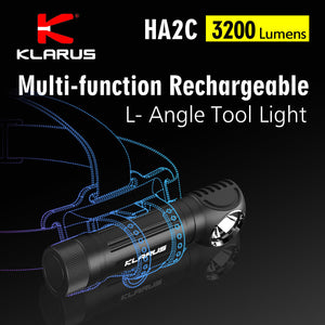 Klarus HA2C Multi-functional Rechargeable L-Angle LED Tool Light, 3200Lumens, 141Meters Beam,  CREE XHP70.2 P2 LED, Micro-USB Rechargeable, 1x18650 Li-ion Battery Include, Magnetic Tail Cap