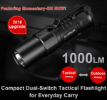 Klarus XT1C Mini Tactical EDC Light 1000Lumens 16340 LED Flashlight, Tail Dual Switch