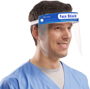 4PCS Face Shield, Plastic Safety Face Shield Reusable Full Face Transparent and Breathable with Protective Clear Film and Elastic Band