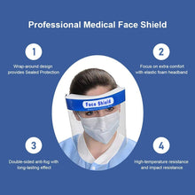 Load image into Gallery viewer, 4PCS Face Shield, Plastic Safety Face Shield Reusable Full Face Transparent and Breathable with Protective Clear Film and Elastic Band