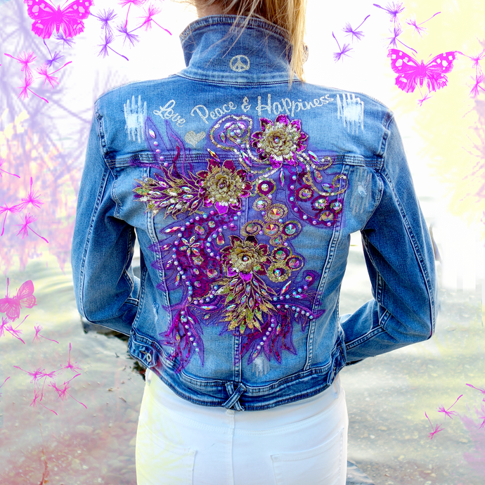 Denim Jacket `more Flowers please´ EINZELSTÜCK