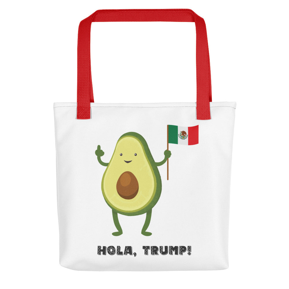 Avocado Giving Finger to Trump with Mexican Flag | Large Tote Bag