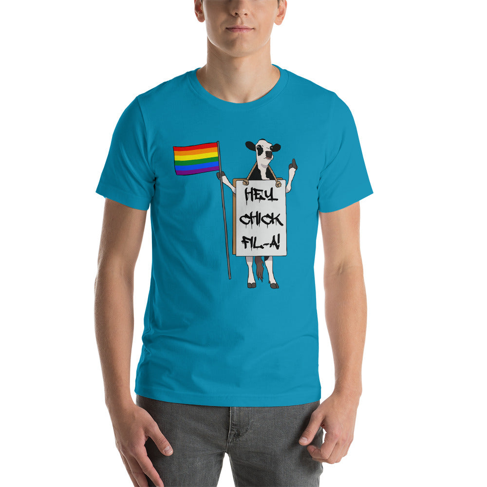 Cow with LGBT Pride Flag and Sign | Unisex Short Sleeve T-Shirt
