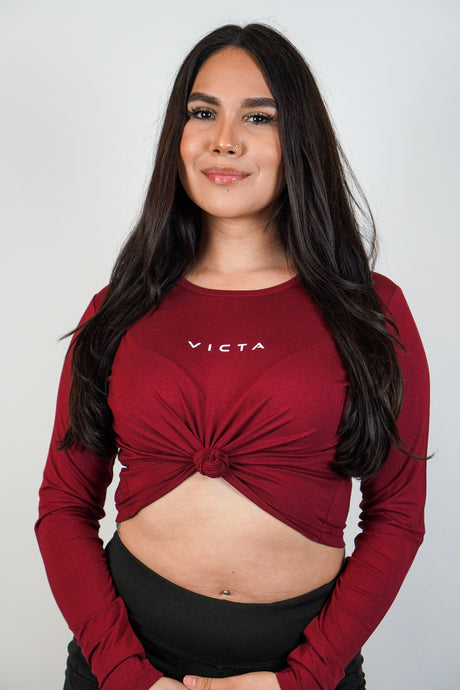 Essential Long Sleeve Crop – Maroon
