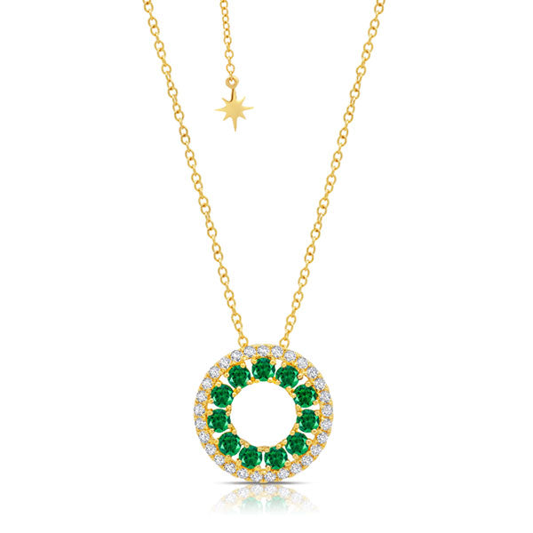 Emerald 3 Sided Circle Necklace in Yellow Gold
