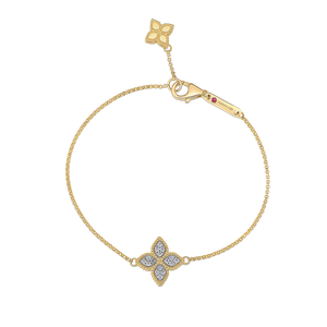 PRINCESS FLOWER CHARM BRACELET WITH DIAMONDS
