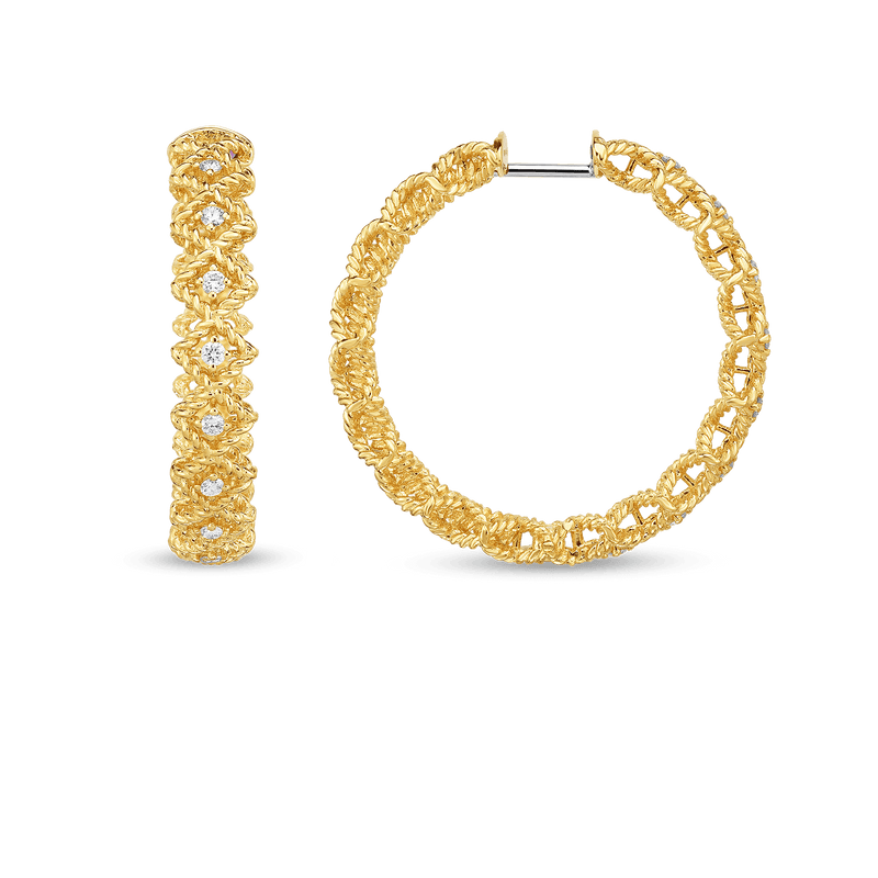 ROMAN BAROCCO LARGE ROUND DIAMOND HOOP EARRING