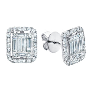 18k White Gold and 1.3 cts Diamond Ascension Illusion Stud Earrings