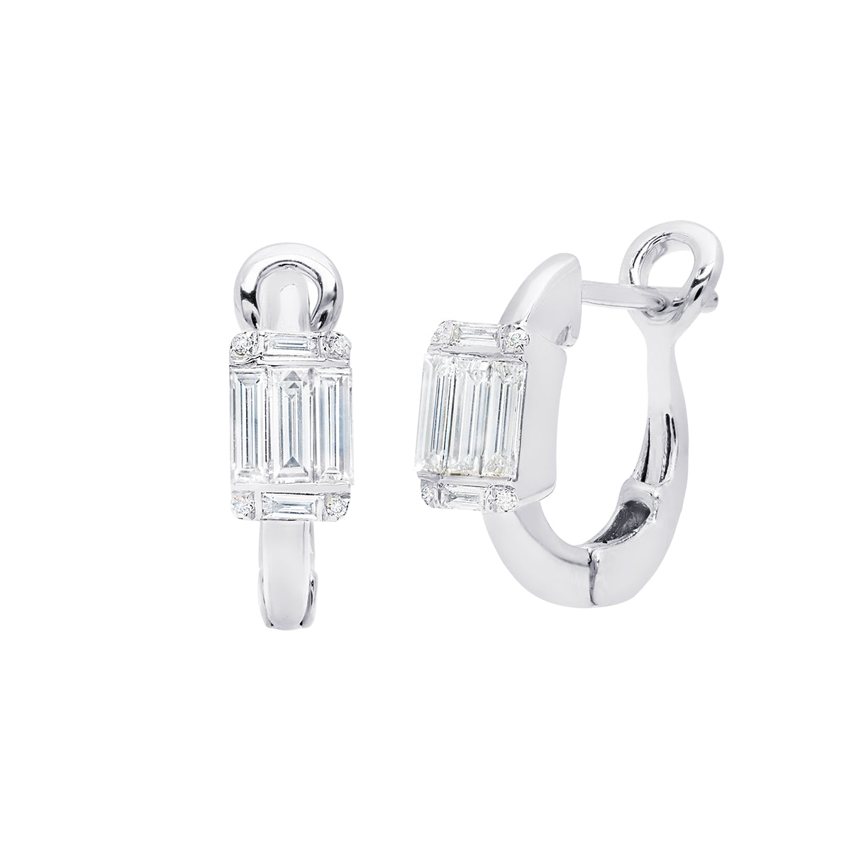 18k White Gold & .36 cts Diamond Ascension Illusion Huggie Earrings