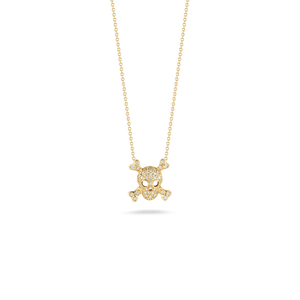 SKULL AND CROSSBONES PENDANT WITH DIAMONDS