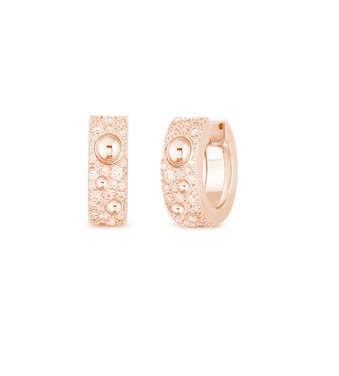 GOLD & PAVE DIAMOND POIS MOI LUNA SMALL HOOP EARRING