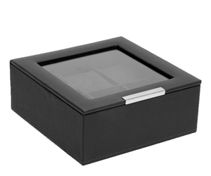 STACKABLE 6 PIECE WATCH TRAY WITH LID BLACK