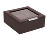 STACKABLE 6 PIECE WATCH TRAY WITH LID BROWN