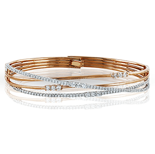 18K GOLD WHITE MB1553 BANGLE