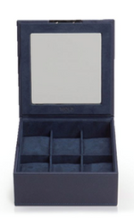 STACKABLE 6 PIECE WATCH TRAY WITH LID NAVY