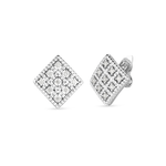 18K GOLD & DIAMOND BYZANTINE BAROCCO SMALL SQUARE STUD EARRING