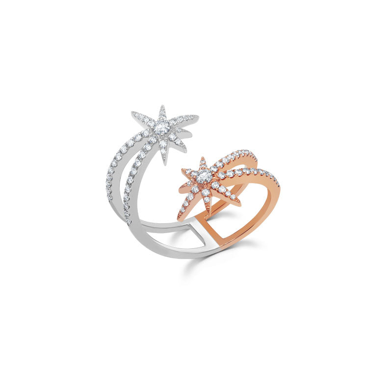 18k White and Rose Gold & .6 cts Diamond Shooting Starburst Ring