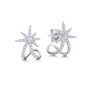 18k White Gold & .4 cts Diamond Starburst Ear Cuffs
