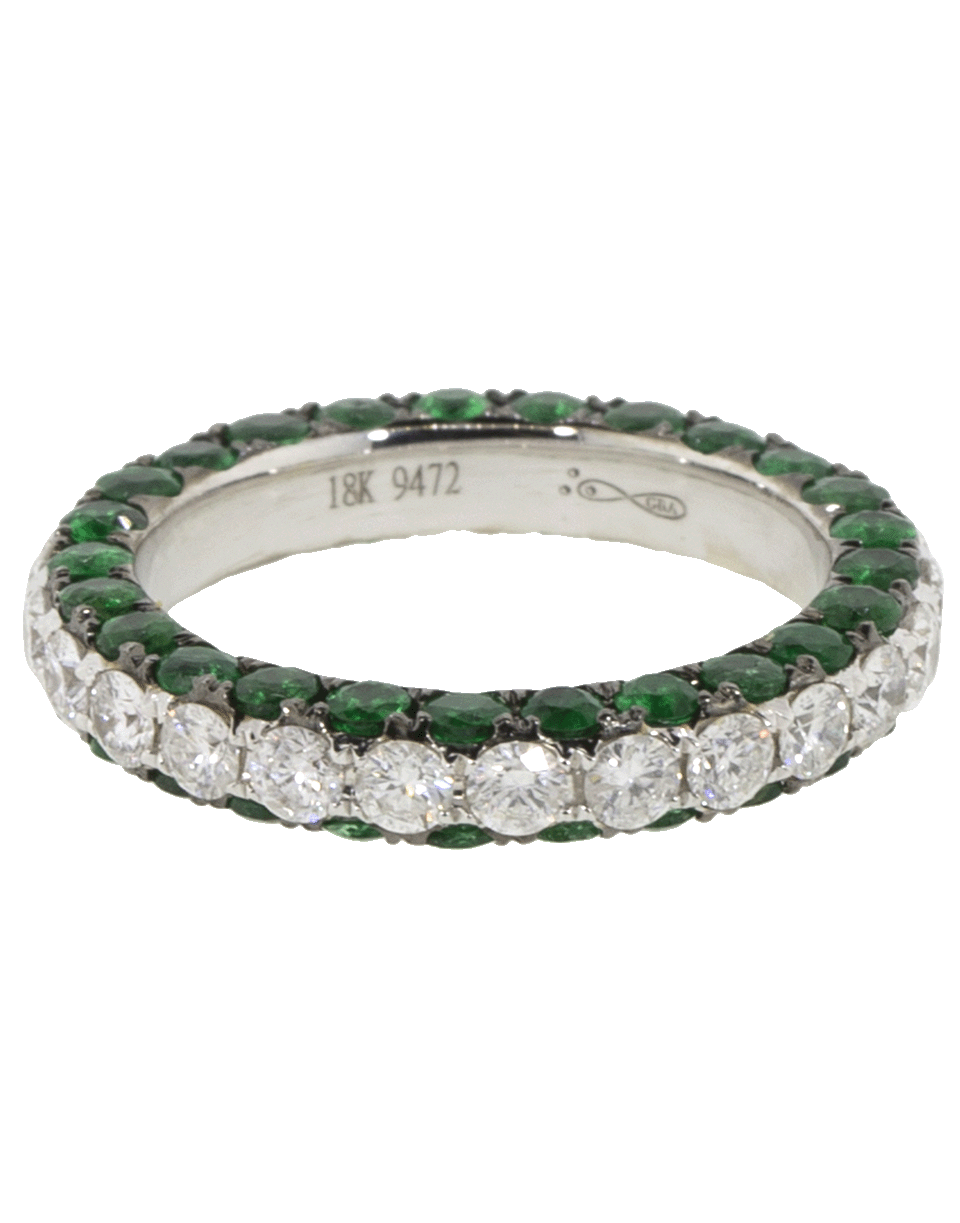 Three Sided Diamond And Emerald Ring