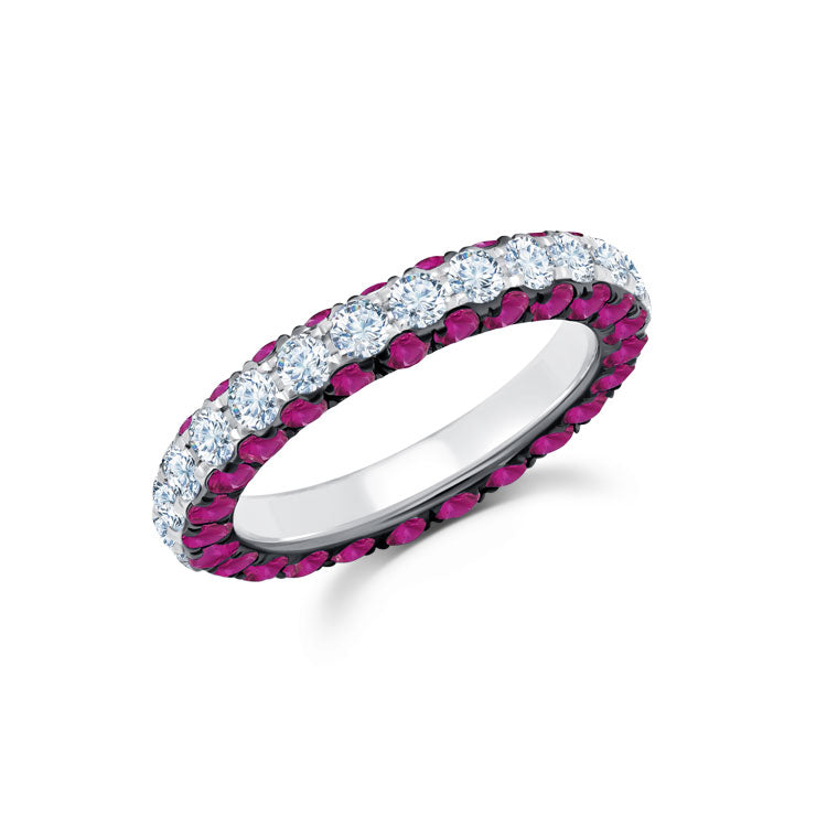 Ruby & Diamond 3 Sided Band Ring