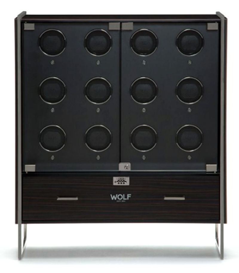 regent 12pc cabinet watch winder matte black