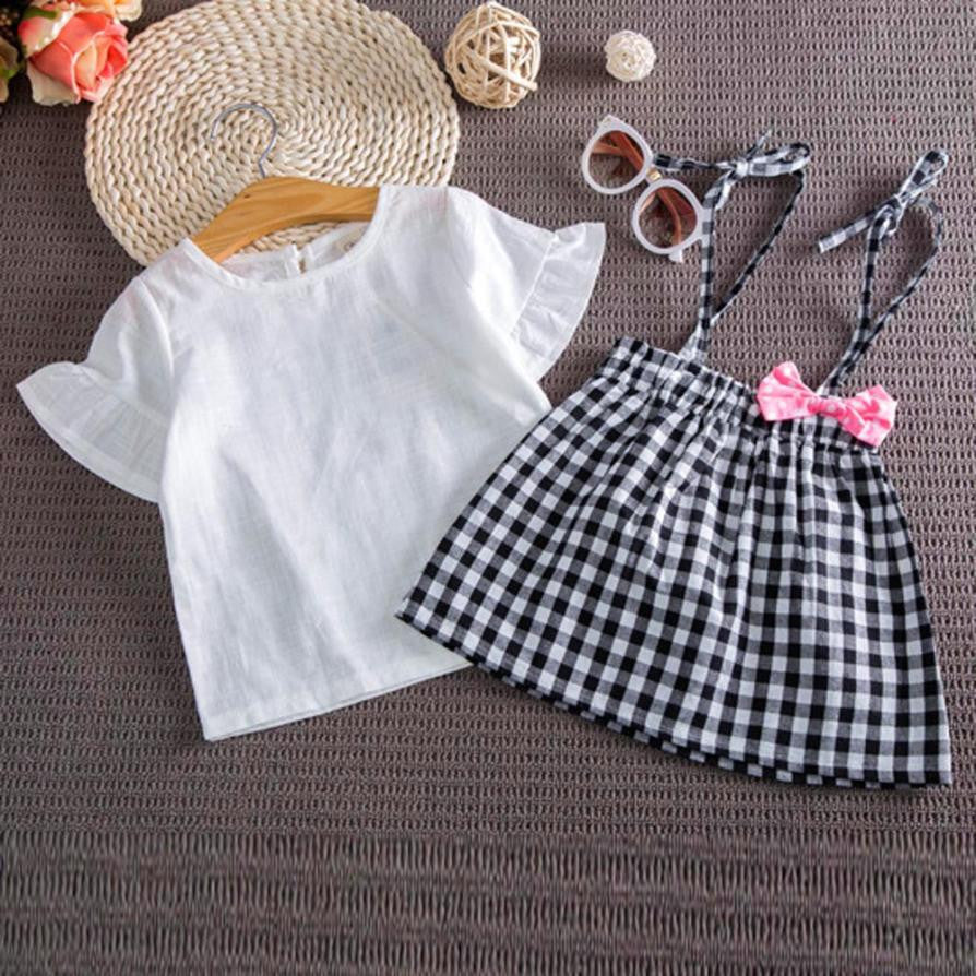Bowknot Casual Girls Outfit Set