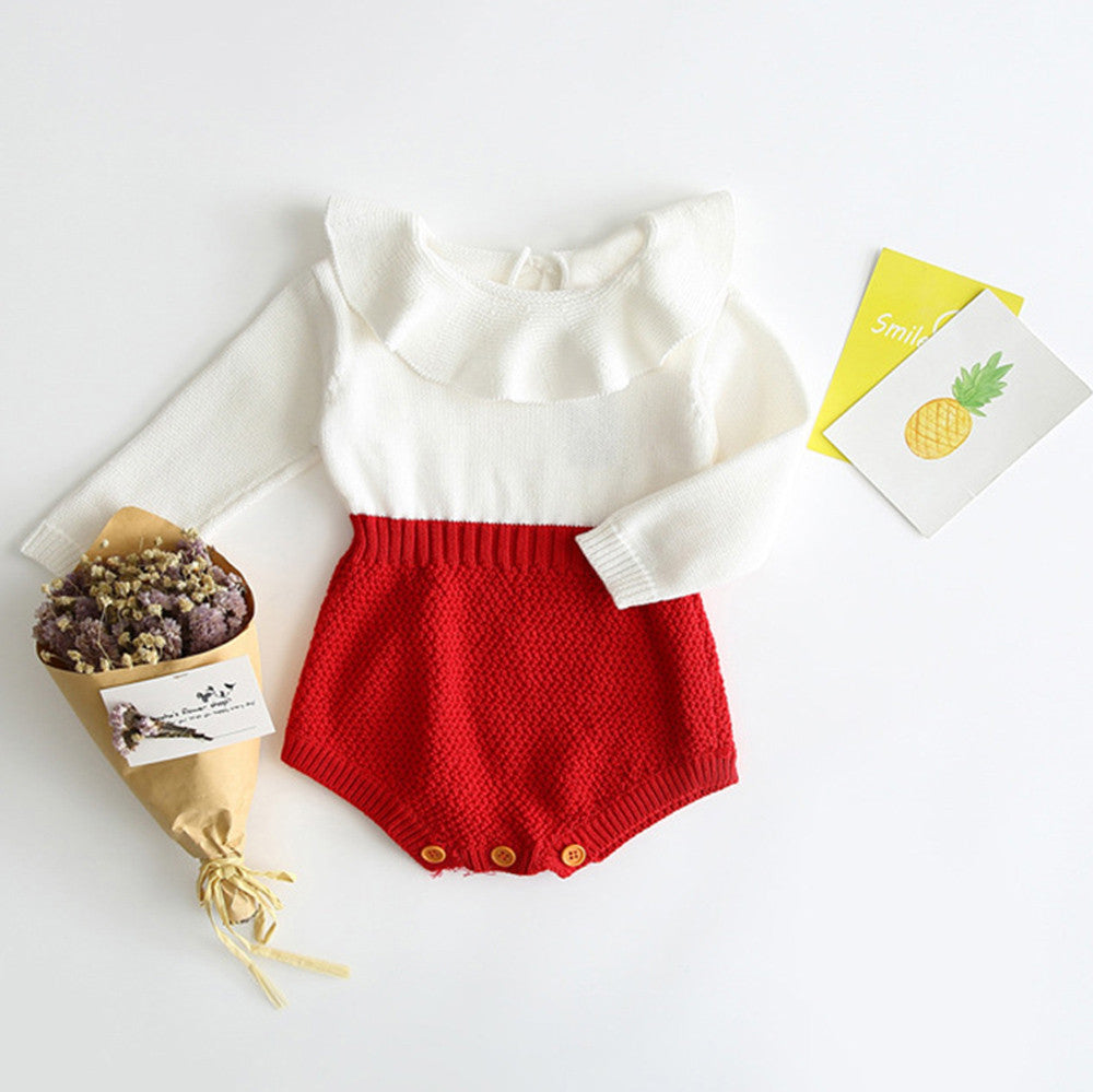 Baby Girl Bodysuit, Romper Knitted (2 Colors Available)