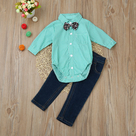 Stylish Green Plaid Boys Outfit
