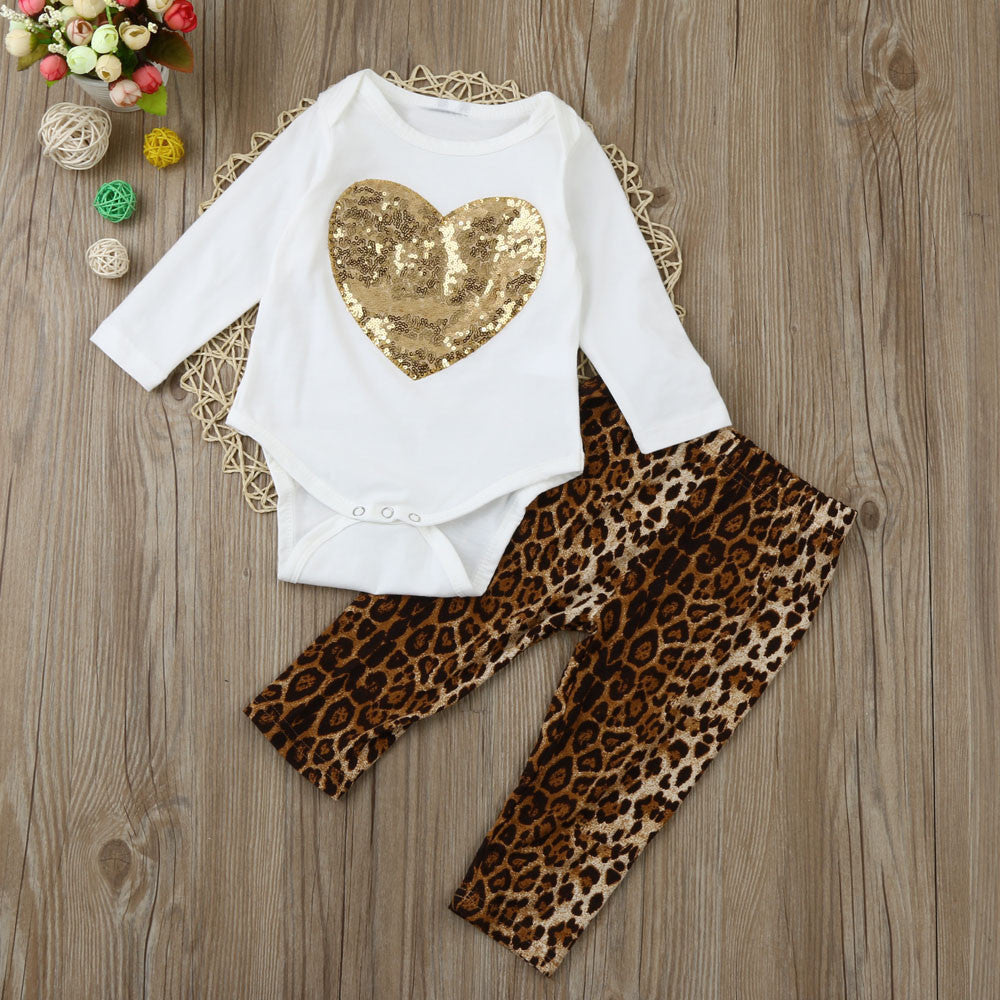 Gold Heart Baby Girl Outfit Set