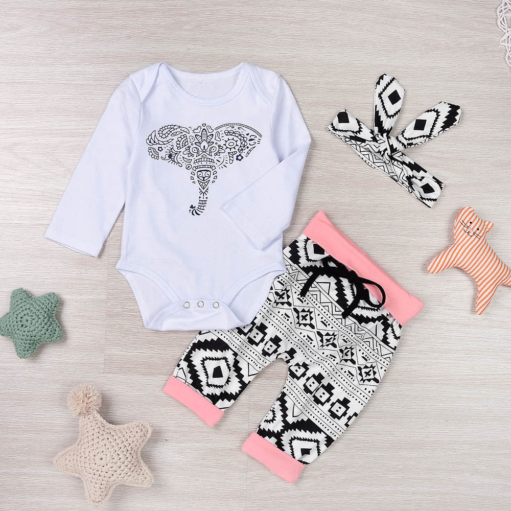 Baby Girl Sportwear set (3PCS) Elephant Kids Clothing