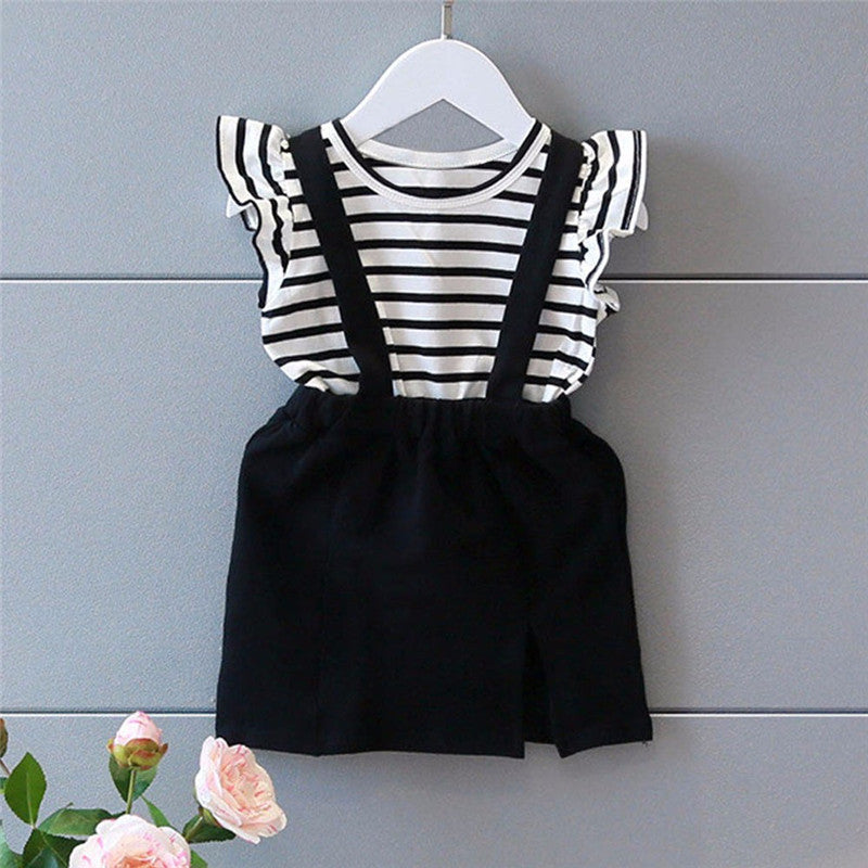 Black Striped Girls Dress