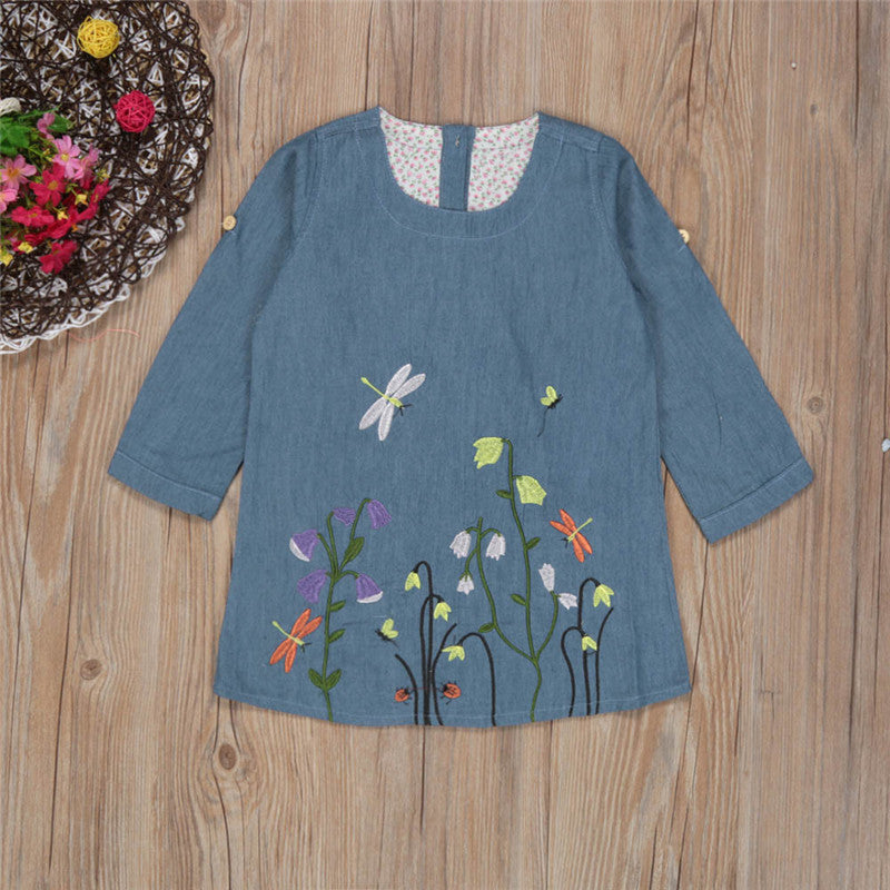 Denim Flower Girls Dress