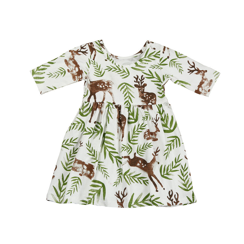 Casual Deer Baby Girls Dress